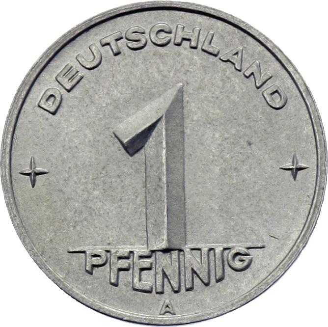 DDR 1 Pfennig (Alu) RS Hammer&Zirkel f.stgl