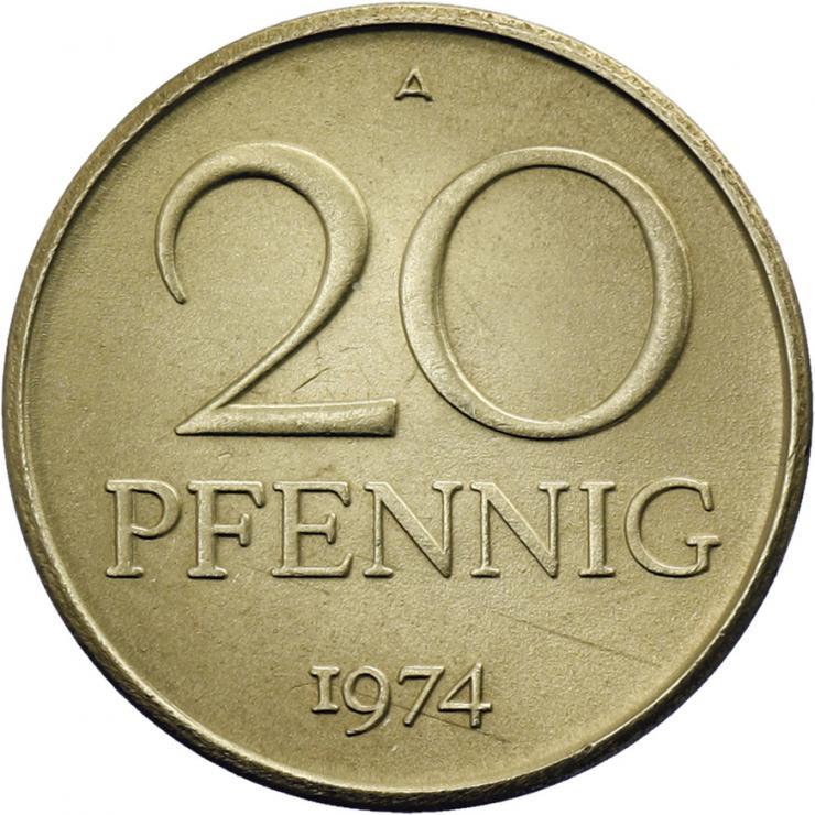 DDR 20 Pfennig (Messing) vz+