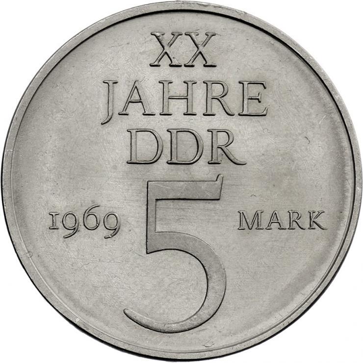 DDR 5 Mark 1969  XX Jahre DDR - Nickelprobe