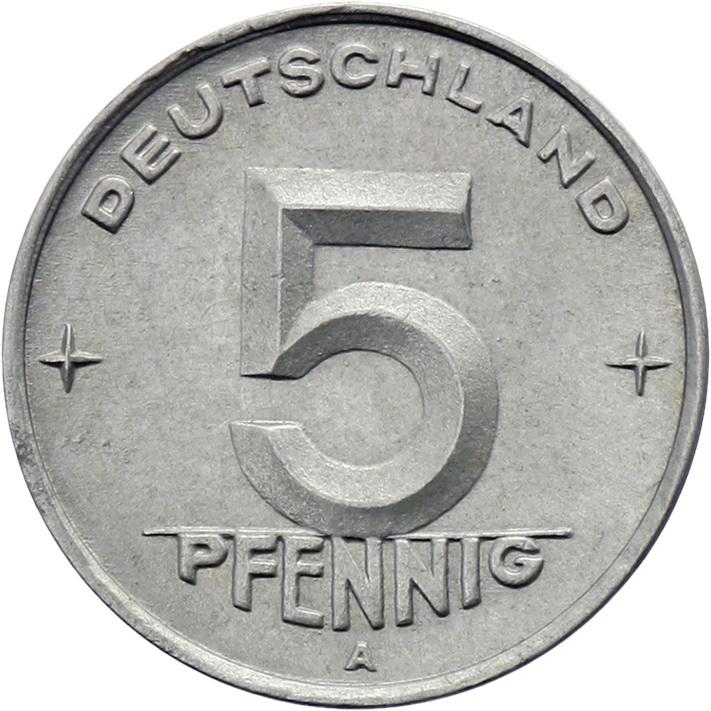 DDR 5 Pfennig (Alu) RS Hammer&Zirkel f.stgl