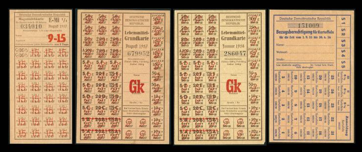 DDR LOT Lebensmittelkarten 1955-1958 (1/1-)