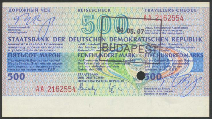 DDR Reisescheck der Staatsbank 500 Mark (1) eingelöst