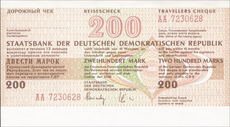 DDR Reisescheck der Staatsbank 200 Mark (1) blanko
