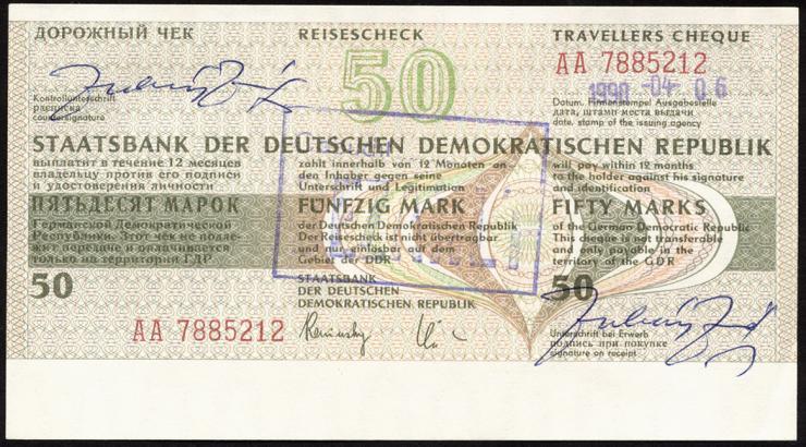 DDR Reisescheck der Staatsbank 50 Mark (1-) eingelöst