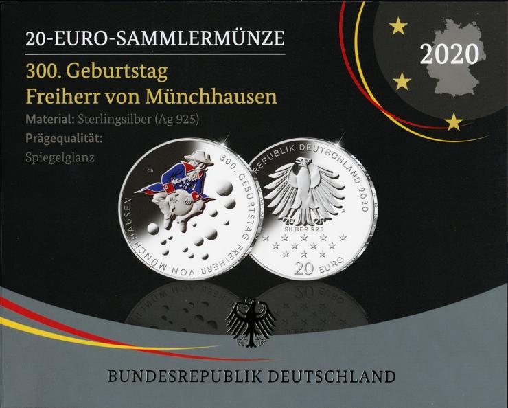 Deutschland 20 Euro 2020 300. Geburtstag Freiherr von Münchhausen PP