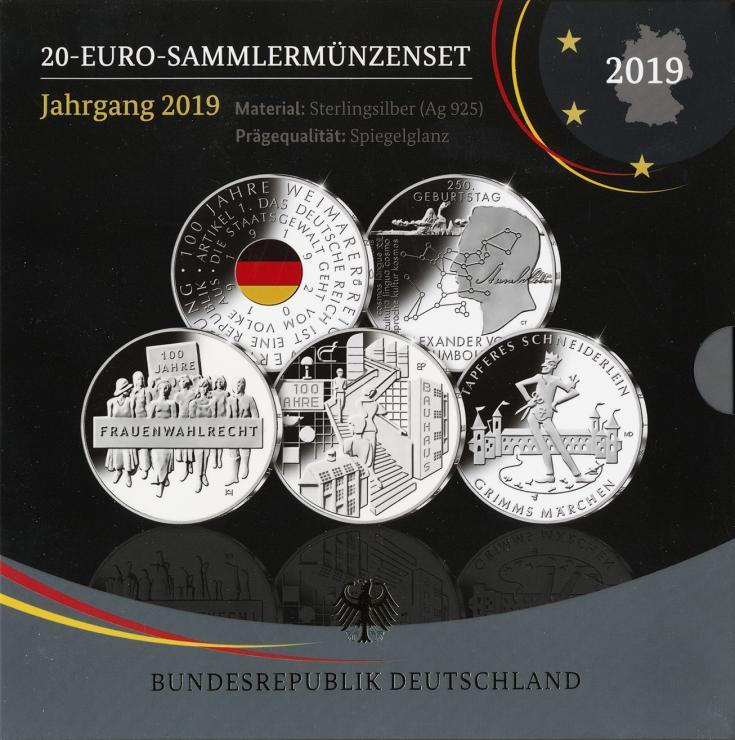 Deutschland 20-Euro-Sammlermünzenset 2019 PP