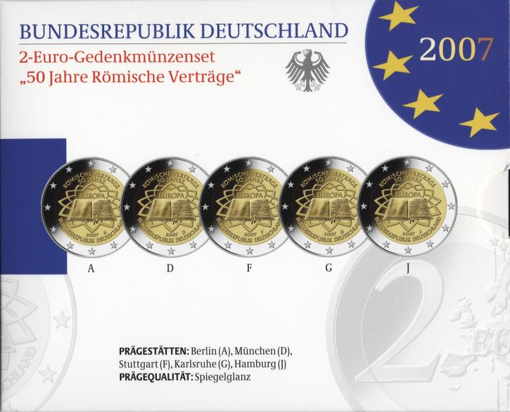 Deutschland 2-Euro-Gedenkmünzset 2007 Römische Verträge PP