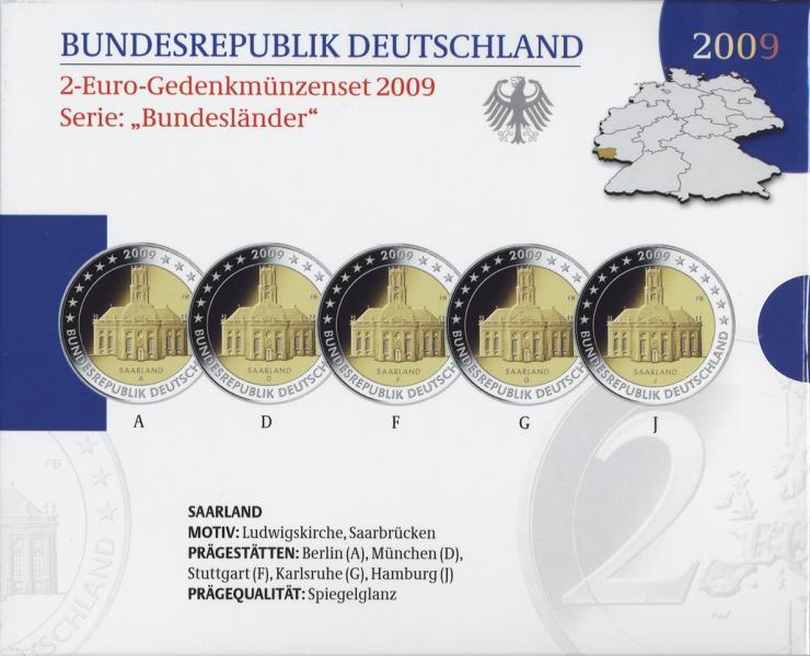 Deutschland 2-Euro-Gedenkmünzset 2009 Saarland (Ludwigskirche Saarbrücken) PP