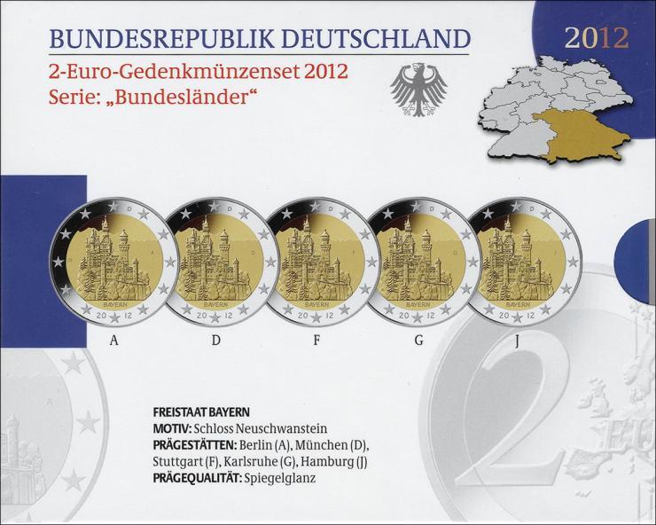 Deutschland 2-Euro-Gedenkmünzset 2012 Bayern (Schloß Neuschwanstein) PP