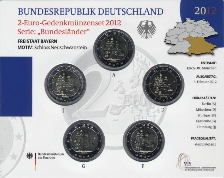Deutschland 2-Euro-Gedenkmünzset 2012 Bayern (Schloß Neuschwanstein) stg