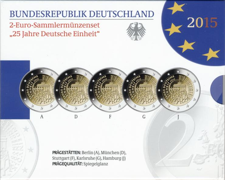 Deutschland 2-Euro-Gedenkmünzset 2015 25 Jahre Deutsche Einheit PP