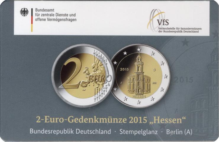 Deutschland 2 Euro 2015 Hessen A Coincard