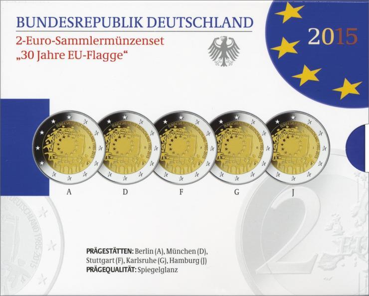 Deutschland 2-Euro-Gedenkmünzset 2015 30 Jahre EU-Flagge PP