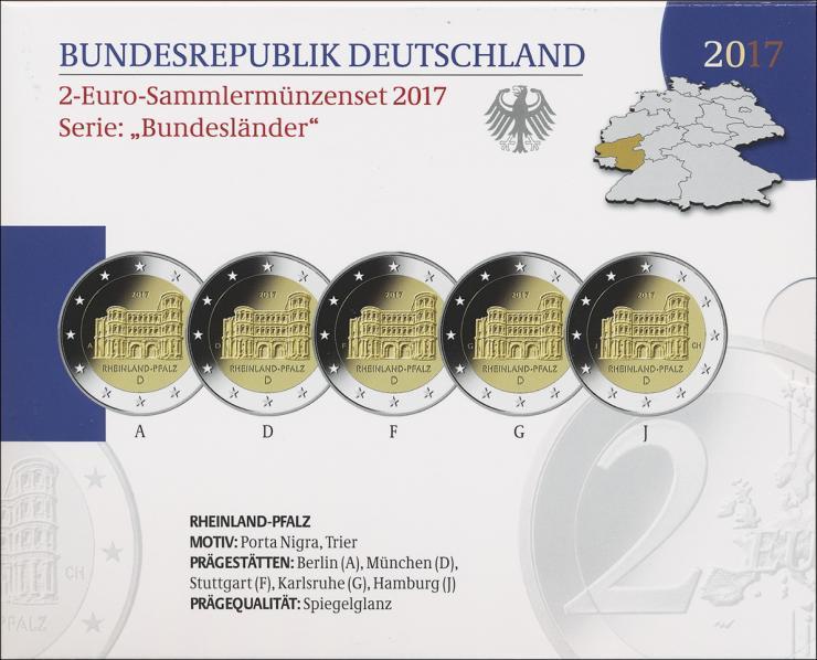 Deutschland 2-Euro-Set 2017 Rheinland-Pfalz PP