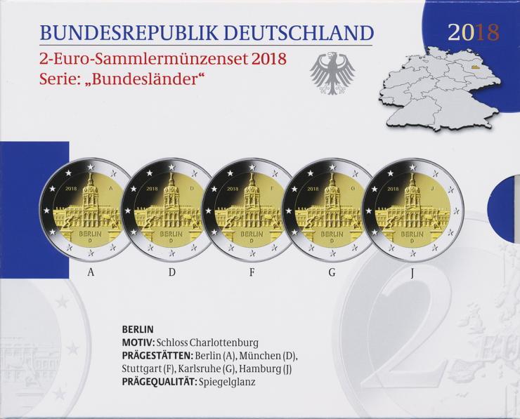 Deutschland 2-Euro-Gedenkmünzset 2018 Berlin (Schloss Charlottenburg) PP