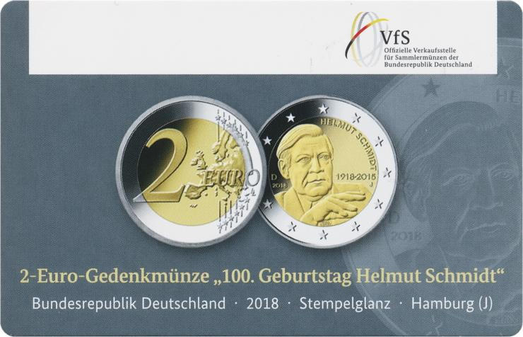 Deutschland 2 Euro 2018 Helmut Schmidt J Coincard