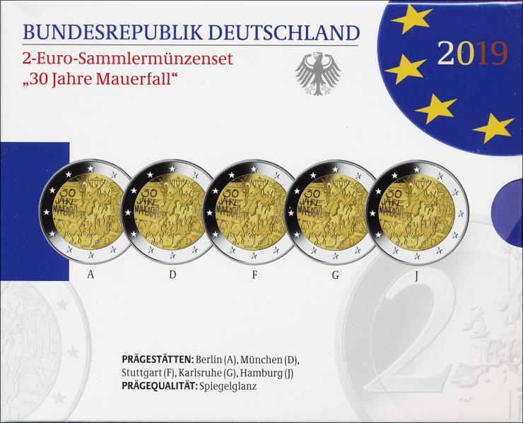 Deutschland 2-Euro-Gedenkmünzset 2019 30 Jahre Mauerfall  PP