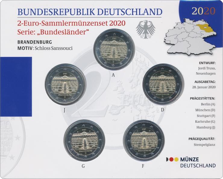 Deutschland 2-Euro-Gedenkmünzset 2020 Brandenburg (Schloß Sanssouci) stg