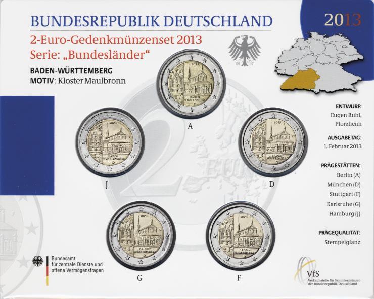 Deutschland 2-Euro-Gedenkmünzset 2013 Baden-Württemberg (Kloster Maulbronn) stg