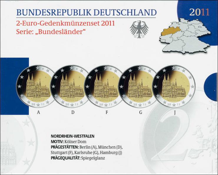 Deutschland 2-Euro-Gedenkmünzset 2011 Nordrhein-Westfalen (Kölner Dom) PP