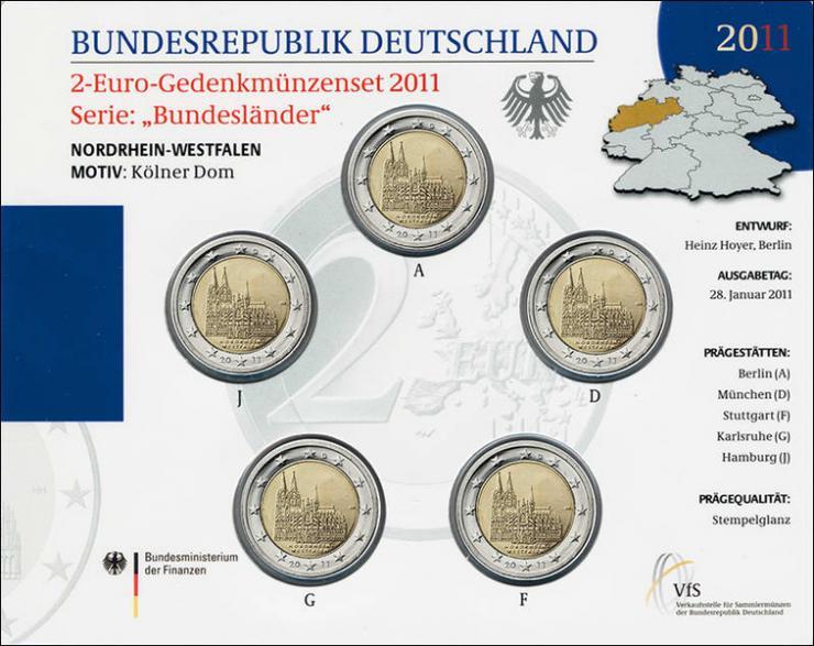 Deutschland 2-Euro-Gedenkmünzset 2011 Nordrhein-Westfalen (Kölner Dom) stg