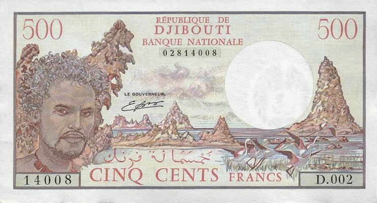 Djibouti P.36b 500 Francs (1988) 2.Auflage (1)