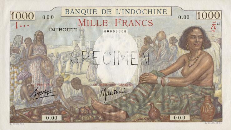 Djibouti P.10s 1000 Francs (1938) Specimen (1)