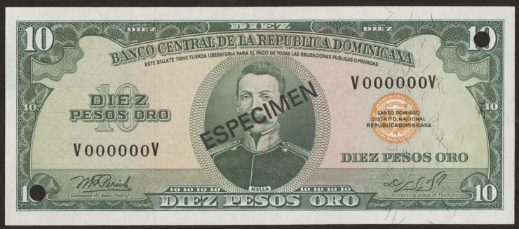 Dom. Republik/Dominican Republic P.110s 10 Pesos Oro 1976