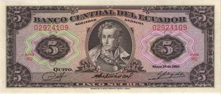 Ecuador P.113d 5 Sucres 1980 (1)