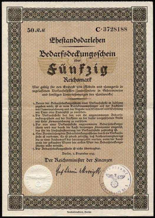 Ehestandsdarlehen 50 Reichsmark 1933 (2) mit Stempel