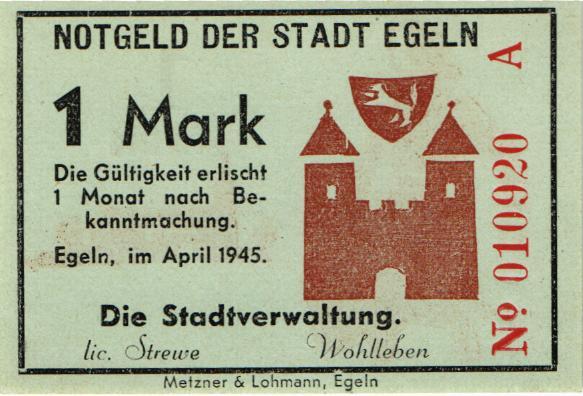 Notgeld Egeln (Provinz Sachsen) 1 - 20 Mark 1945 A (1)
