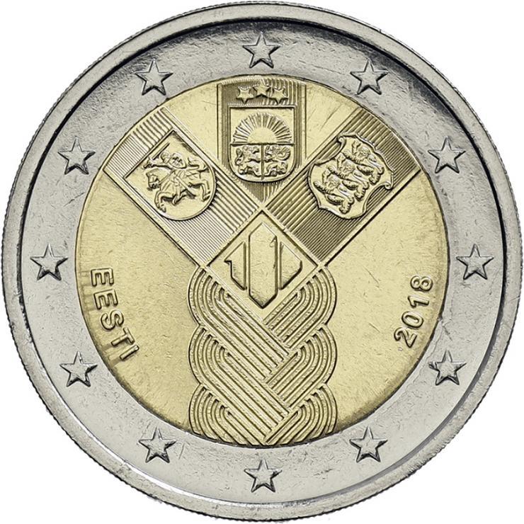 Estland 2 Euro 2018 (Baltische Gemeinschaftsausgabe) 100 Jahre Unabhängigkeit