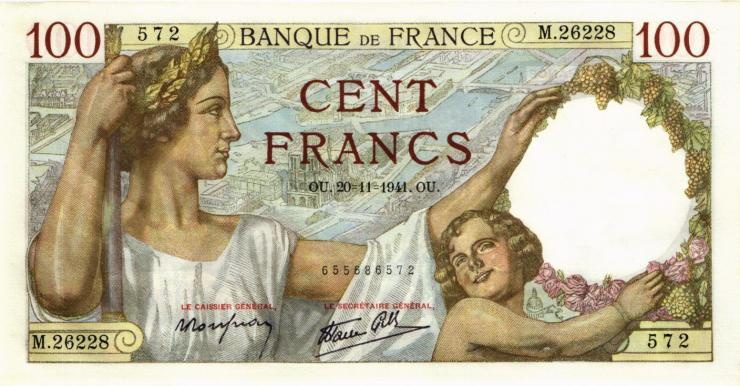 Frankreich / France P.094 100 Francs 1941 (1)
