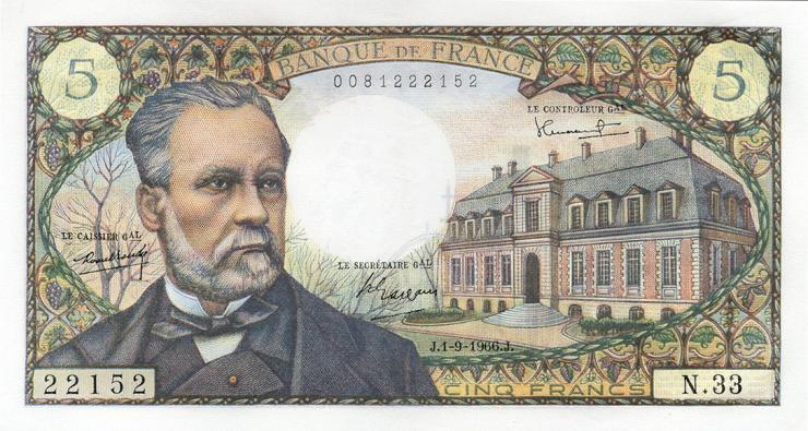 Frankreich / France P.146a 5 Francs 1966 Louis Pasteur (1-)