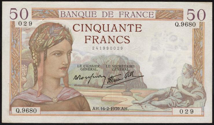 Frankreich / France P.085b 50 Francs 1939 (1)