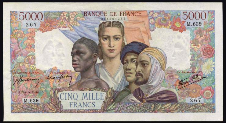 Frankreich / France P.103c 5000 Francs 24.5.1945 (2+)
