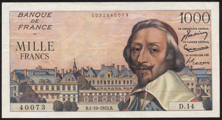 Frankreich / France P.134a 1000 Francs 1.10.1953 (2)