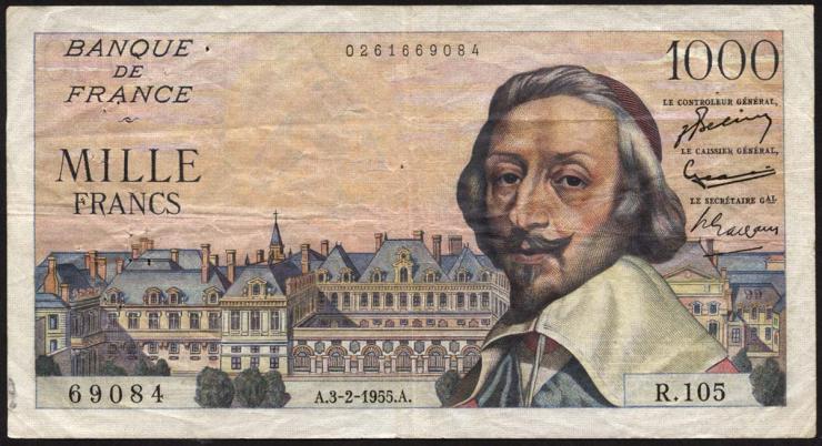 Frankreich / France P.134a 1000 Francs 3.2.1955 (3)