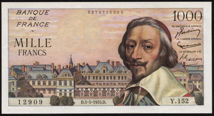 Frankreich / France P.134a 1000 Francs 5.5.1955 (1)