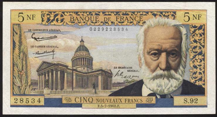 Frankreich / France P.141 5 Neue Francs 5.7.1962 (3+)