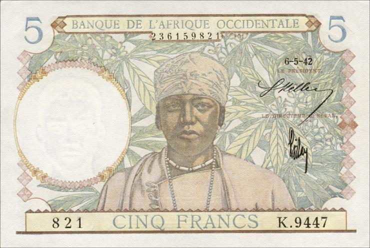 Franz. Westafrika / French West Africa P.25 5 Francs 1942 (1)