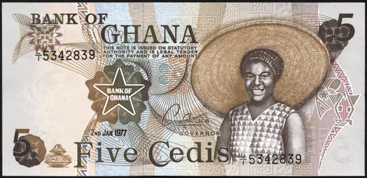 Ghana P.15b 5 Cedis 1977-78 (1)