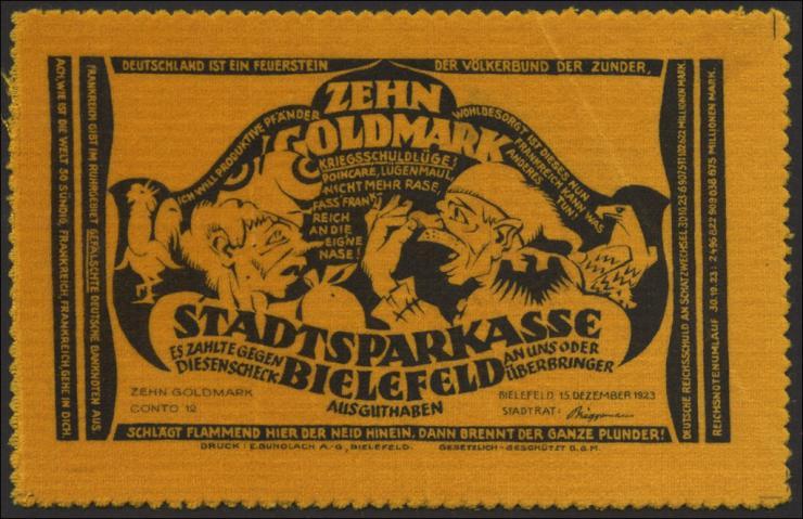 Bielefeld GP.57 10 Goldmark 1923 Samt (1-)