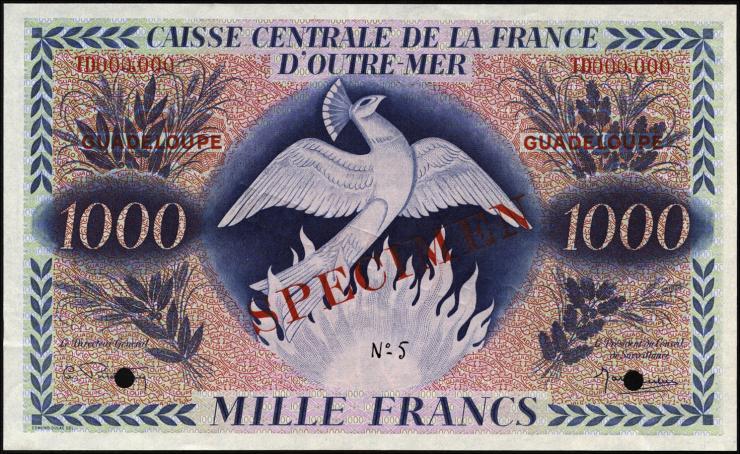 Guadeloupe, Frz. Verw. P.30s 1000 Francs (1944) Specimen