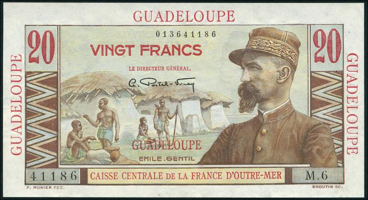 Guadeloupe, Frz. Verw. P.28 20 Francs (1944) (1/1-)