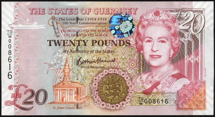 Guernsey P.neu 20 Pound 1918-2018 (1)