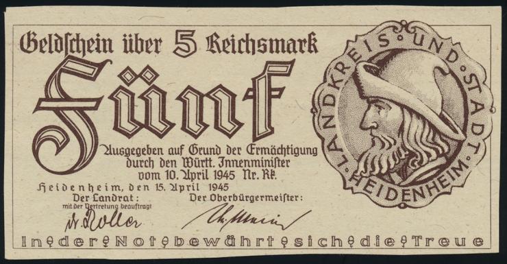 Heidenheim 5 Reichsmark 10.4.1945 (1)