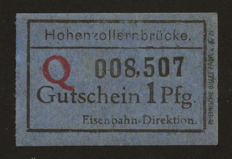 MG319.07a Köln Hohenzollernbrücke 1 Pfennig Eisenbahn Direktion (1)