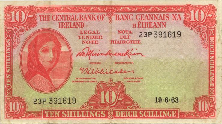 Irland / Ireland P.63a 10 Shillings 1963 (3)