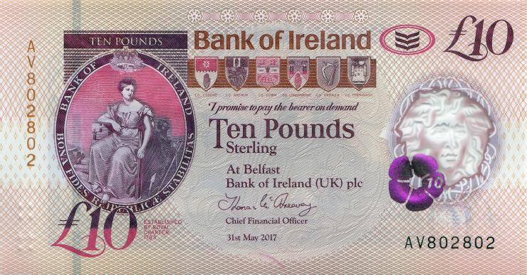 Nordirland / Northern Ireland, Bank of Ireland P.neu 10 Pounds 2017 (2019) Polymer (1)